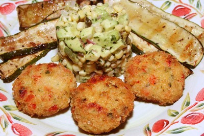 Shrimp Cakes with Corn Salsa