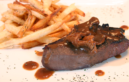 Yum! Venison with Pomme Frites.